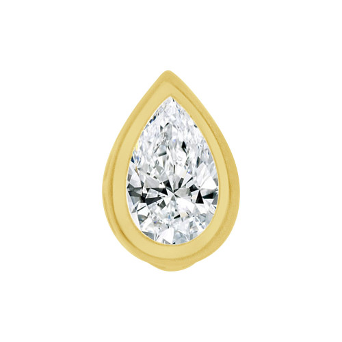 14k Yellow Gold, Bezel Solitaire Pendant 6.5mm Pear Shape Created CZ Crystal (E127-025)