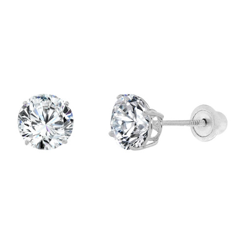 14k Gold White Rhodium, Round 5mm Stud Earring Created CZ Crystals Screw Back (E128-003)
