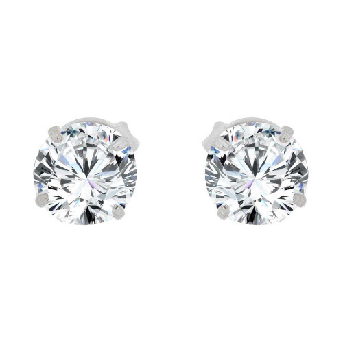 14k Gold White Rhodium, Round 4mm Stud Earring Created CZ Crystals (E128-006)