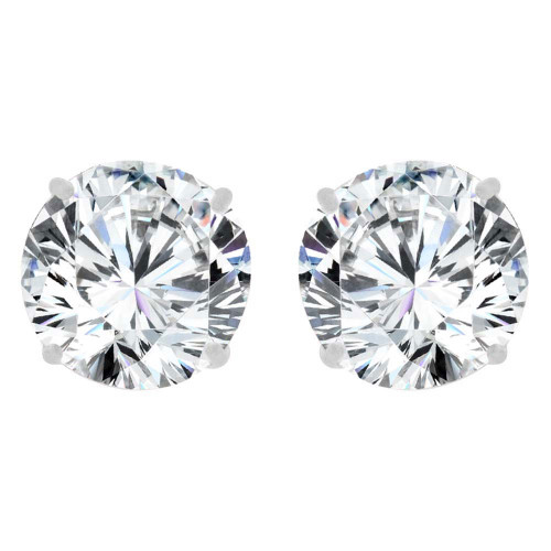 14k Gold White Rhodium, Round 5mm Stud Earring Created CZ Crystals (E128-007)