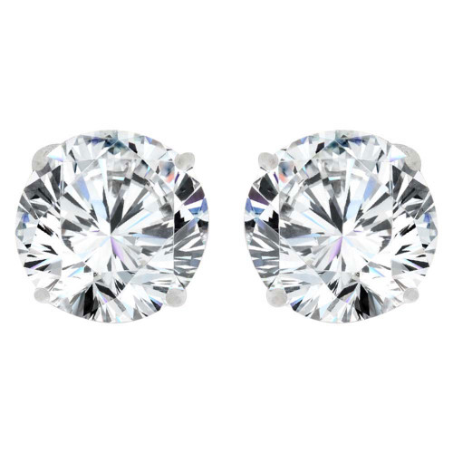 14k Gold White Rhodium, Round 6mm Stud Earring Created CZ Crystals (E128-008)