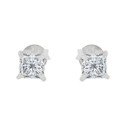 14k Gold White Rhodium, 3mm Princess Cut Stud Earring Created CZ Crystals (E129-001)