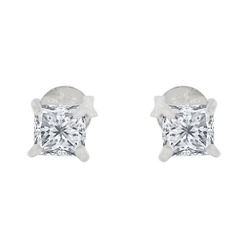 14k Gold White Rhodium, 4mm Princess Cut Stud Earring Created CZ Crystals (E129-002)