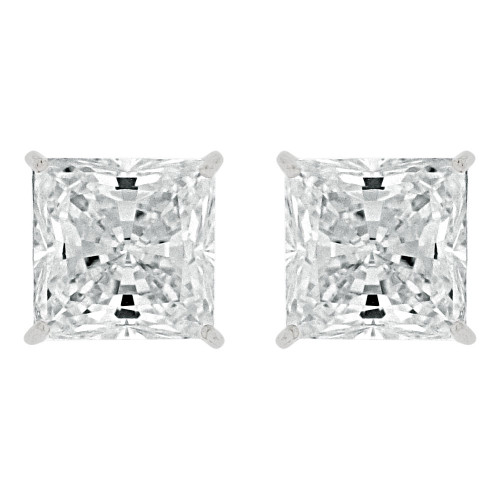 14k Gold White Rhodium, 7mm Princess Cut Stud Earring Created CZ Crystals (E129-005)