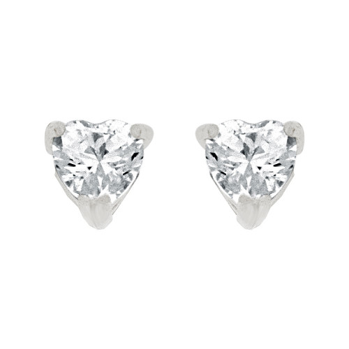 14k Gold White Rhodium, 4mm Heart Shape Stud Earring Created CZ Crystals (E129-006)