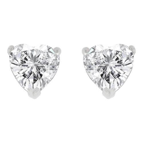 14k Gold White Rhodium, 5mm Heart Shape Stud Earring Created CZ Crystals (E129-007)