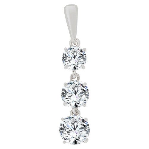 14k Gold White Rhodium, Three Stone Dangling Pendant Created CZ Crystals (E129-014)