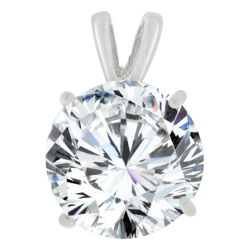 14k Gold White Rhodium, 10mm Round Solitaire Pendant Created CZ Crystal (E129-019)