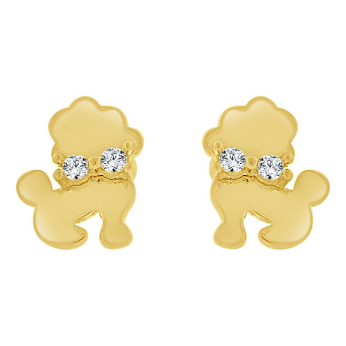 14k Yellow Gold, Puppy Dog Mini Stud Created CZ Crystals Earring Screw Back 6mm Wide (E130-002)