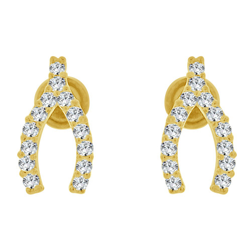 14k Yellow Gold, Wish Bone Mini Stud Created CZ Crystals Earring Screw Back 4mm Wide (E130-006)