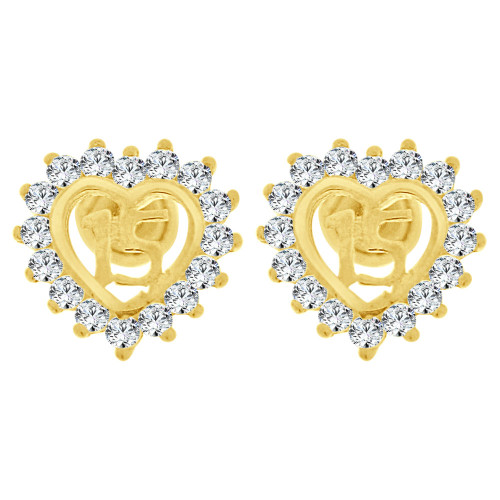 14k Yellow Gold, 15 Heart Quinceanera Mini Stud Created CZ Crystals Earring Screw Back 7mm Wide (E130-008)