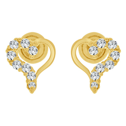 14k Yellow Gold, Tiny Heart Mini Stud Created CZ Crystals Earring Screw Back 5mm Wide (E130-012)