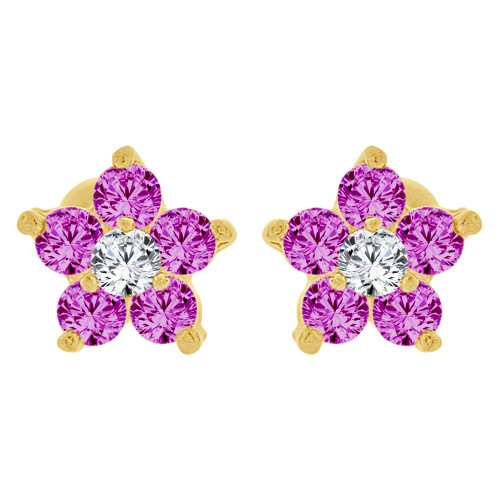 14k Yellow Gold, Tiny Flower Mini Stud Created CZ Crystals Earring Screw Back (E130-015)