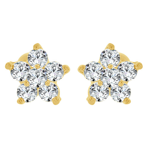 14k Yellow Gold, Tiny Flower Mini Stud Created CZ Crystals Earring Screw Back 6mm Wide (E130-016)