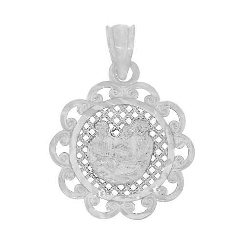 14k Gold White Rhodium, Baptism Christening Holy Family Religious Pendant Medal 17mm (P001-077)