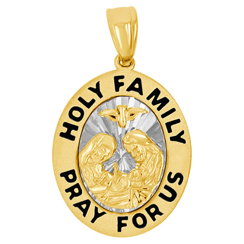 14k Yellow & White Gold, Holy Family Baptism Christening Religious Pendant Oval 13mm (P002-034)