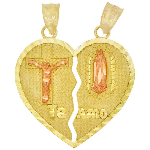 14k Yellow & Rose Gold, Sharing Heart Te Amo Virgin Mary & Crucifix Pendant Religious 23mm (P004-029)