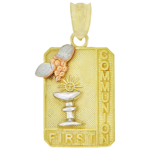 14k Tricolor Gold, First Communion Religious Pendant Rectangle 13.5mm (P005-037)