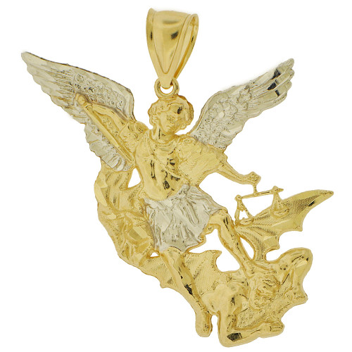 14k Yellow Gold White Rhodium, Saint Michael Medal Religious Figure Pendant 42mm (P005-042)