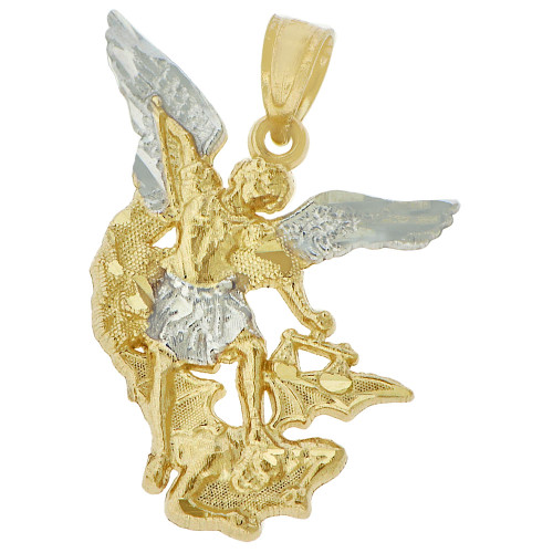 14k Yellow Gold White Rhodium, Saint Michael Medal Religious Figure Pendant 26mm (P005-044)