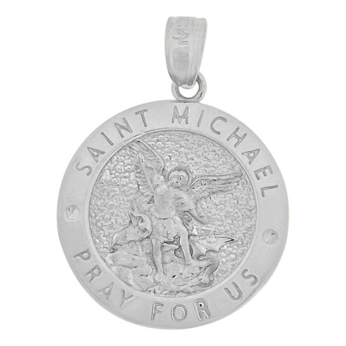14k Gold White Rhodium, Saint Michael Medal Pendant Round 16mm Wide (P006-079)