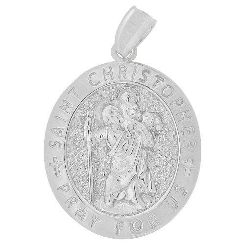 14k Gold White Rhodium, Saint Christopher Medal Religious Pendant Oval 16mm (P006-082)