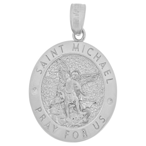 14k Gold White Rhodium, Saint Michael Medal Pendant Oval 16mm Wide (P006-084)