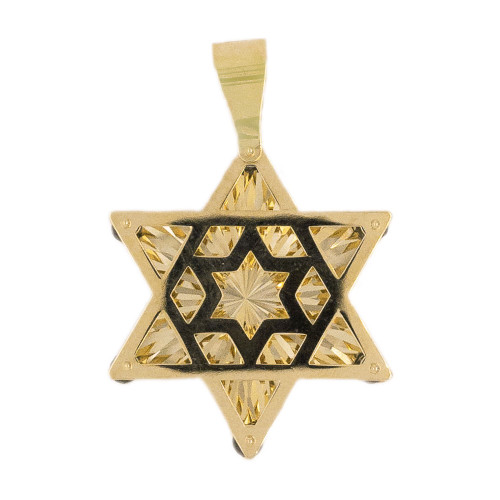 14k Yellow Gold, Star of David Jewish Religious Pendant Facetted Created CZ Crystals 28mm (P007-030)