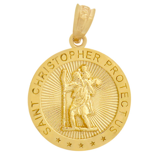 14k Yellow Gold, Saint Christopher Medal Religious Pendant Round 15mm (P008-026)