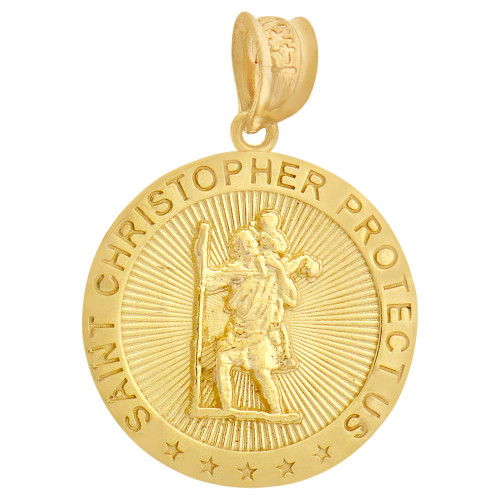 14k Yellow Gold, Saint Christopher Medal Religious Pendant Round 18mm (P008-027)