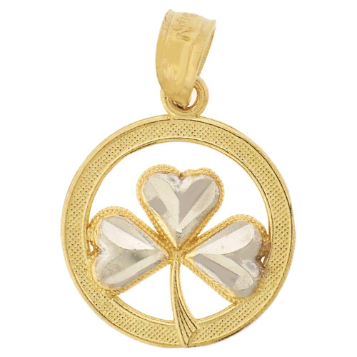 14k Yellow Gold White Rhodium, Mini Lucky Clover Heart Shaped Leaves Pendant 13mm (P009-027)