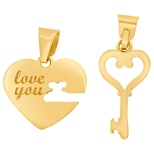 14k Yellow Gold, Couple Sharing Heart & Key Pendant Love You 15mm (P009-031)