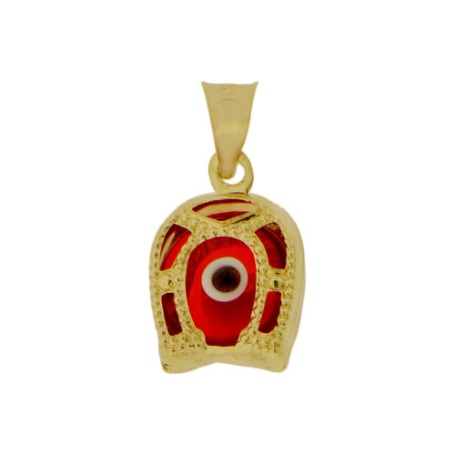 14k Yellow Gold, Mini Size Red Evil Eye Horseshoe Pendant Enamel Resin 9mm (P009-036)