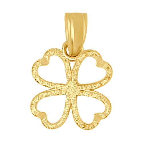 14k Yellow Gold, Small Mini Lucky 4 Heart Leaf Clover Pendant 10mm (P009-037)