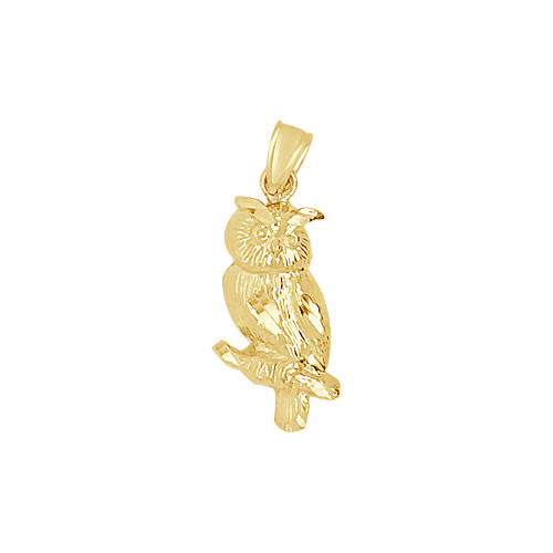 14k Yellow Gold, Small Owl Bird Pendant 8mm (P009-039)