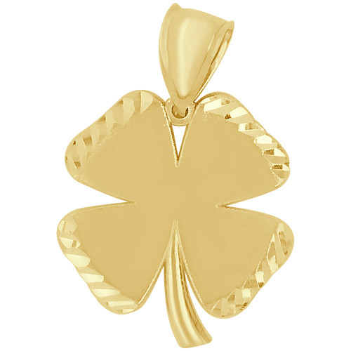 14k Yellow Gold, Lucky 4 Leaf Clover Pendant Sparkling 24mm (P009-040)