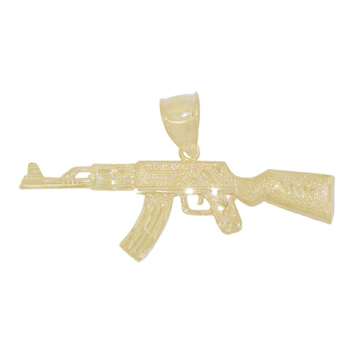 14k Yellow Gold, AK 47 Kalashnikov Rifle Novelty Pendant 53mm (P010-031)