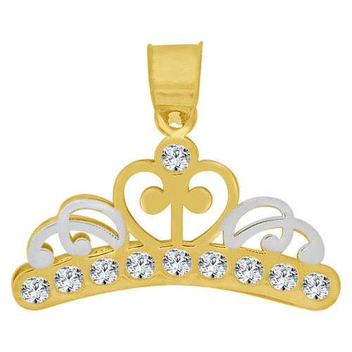 14k Yellow Gold, Mini Princess Tiara Crown Pendant Created CZ Crystals 21mm (P010-045)