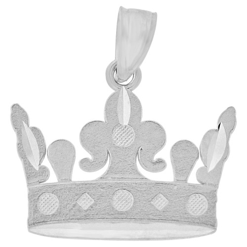 14k Gold White Rhodium, Small Tiara Crown Pendant 18mm (P010-096)