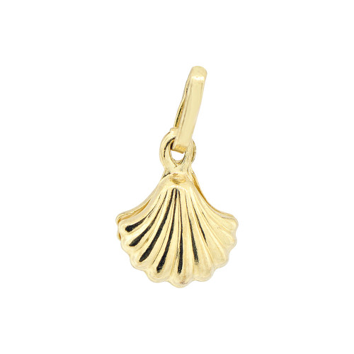 14k Yellow Gold, Mini Clam Shell Faux Created White Pearl Pendant Charm 9mm (P011-002)