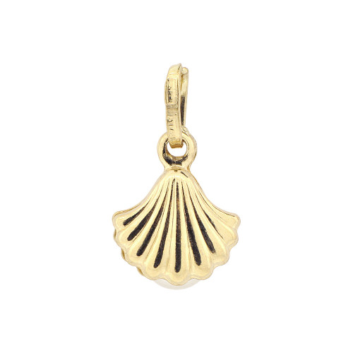 14k Yellow Gold, Small Clam Shell Faux White Pearl Pendant Charm 11mm (P011-003)