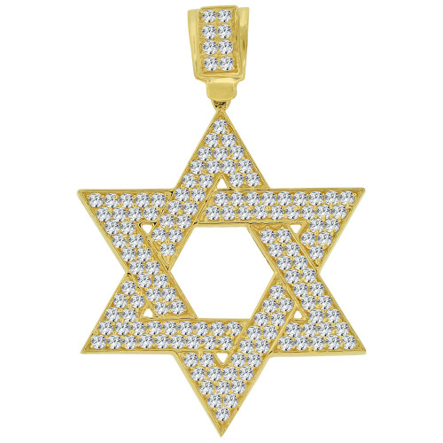 14k Yellow Gold, Star of David Pendant Charm Created CZ Crystals 30mm (P011-039)