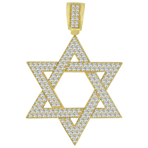 14k Yellow Gold, Star of David Pendant Charm Created CZ Crystals 40mm (P011-040)