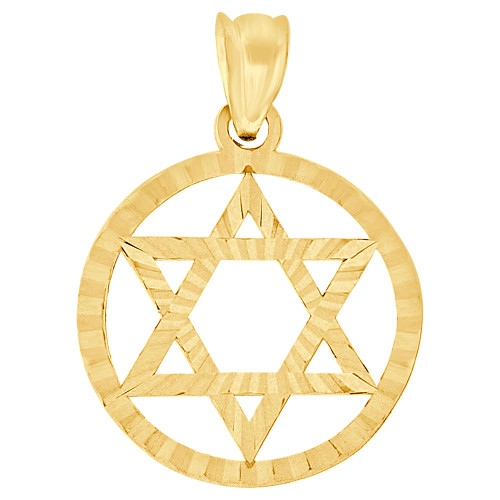 14k Yellow Gold, Small Star of David Jewish Religious Pendant Charm Bezel 18mm (P011-041)