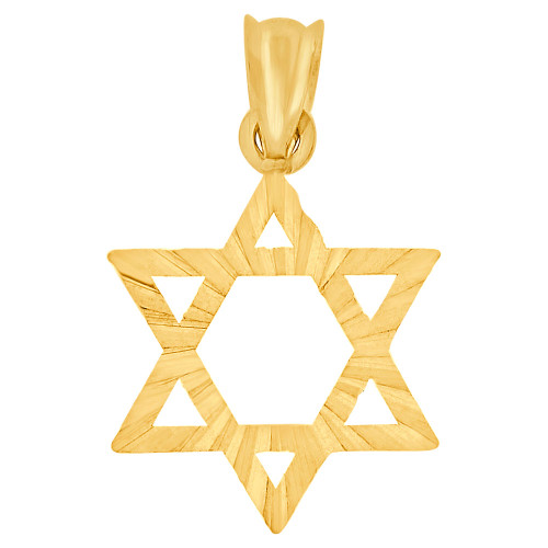 14k Yellow Gold, Small Star of David Jewish Religious Pendant Charm 15mm (P011-042)