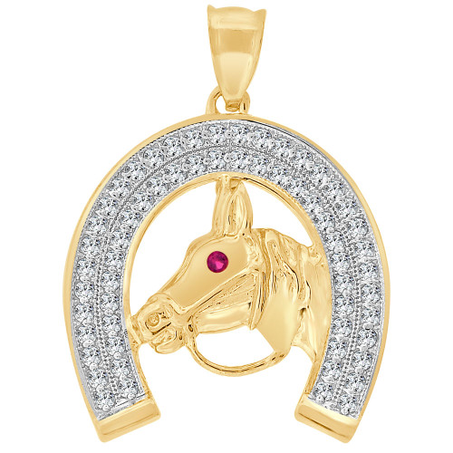 14k Yellow Gold White Rhodium, Fancy Lucky Horseshoe Stallion Pendant Charm Created CZ Crystals 28mm (P011-043)