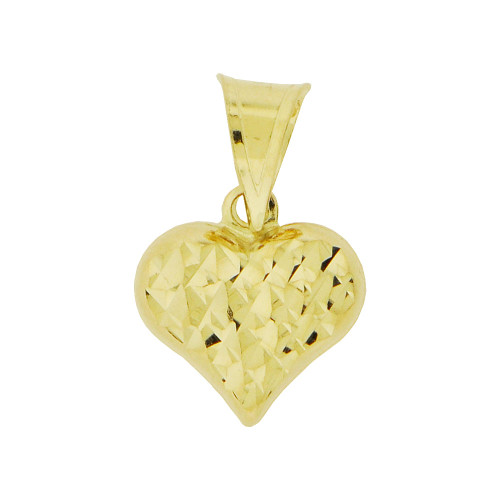 14K Yellow Gold, Mini Reversible Polished & Sparkly Cut Heart Puffed Pendant Hollow Charm 10mm (P011-047)