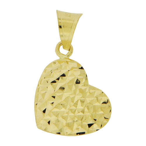 14K Yellow Gold, Small Reversible Polished & Sparkly Cut Heart Puffed Pendant Hollow Charm 11mm (P011-048)