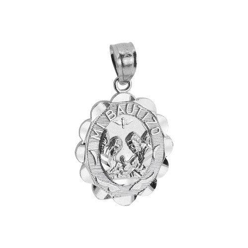 Mi Bautizo Baptism Christening Religious Charm Created CZ Crystals Oval Medal 14mm 14k White Gold