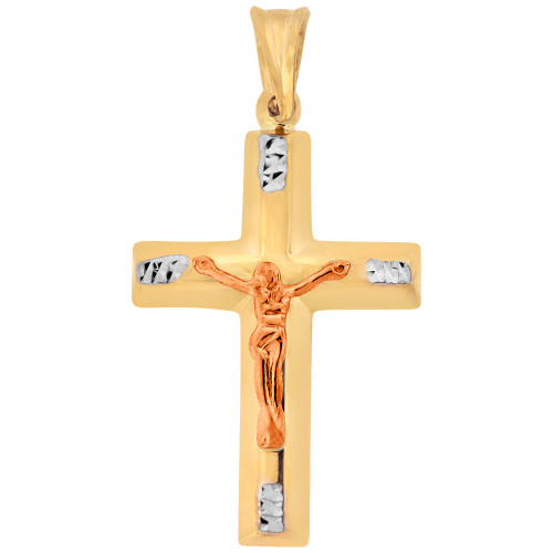 14k Yellow & Rose Gold, Jesus Christ Cross Crucifix Sparkly Cuts Pendant Religious Charm 22mm (P013-046)